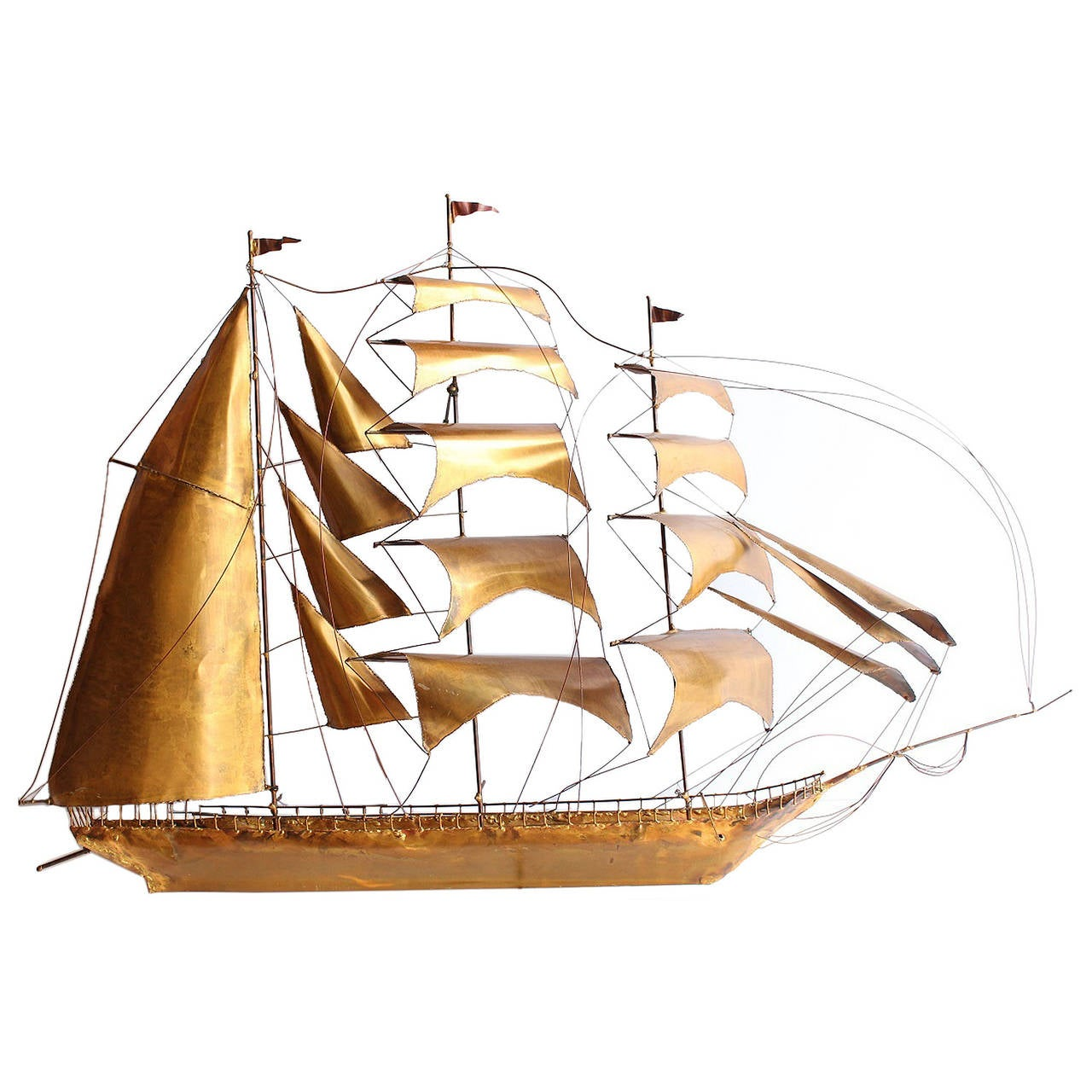 Large Midcentury Handmade Brass Ship or Yacht  Wall Sculpture For Sale
