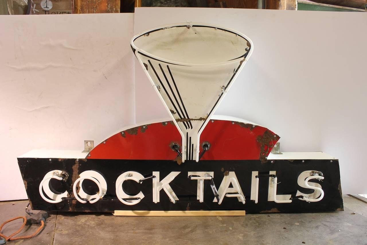 """Vintage Neon \""""Cocktails\"""" Sign at 1stdibs"""