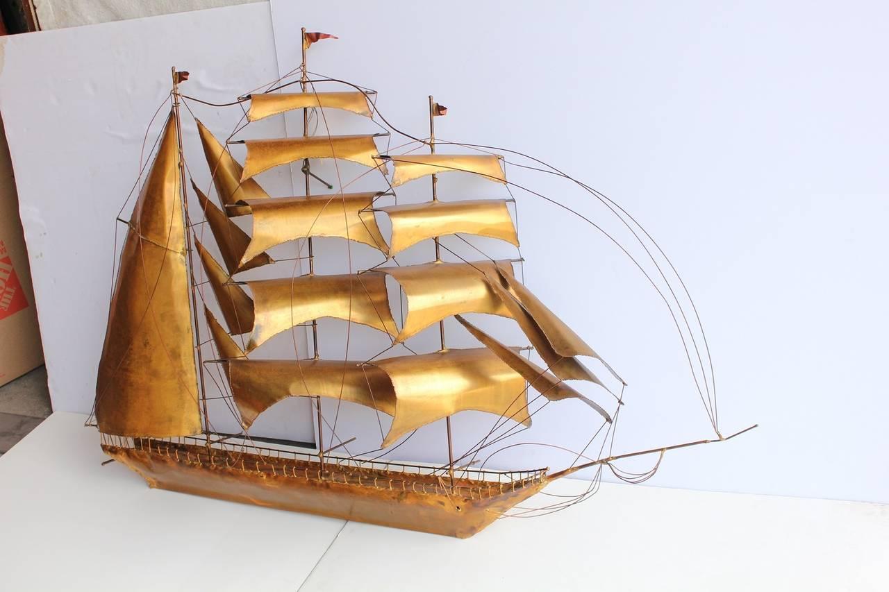 Midcentury Handmade Brass Ship or Yacht Wall Sculpture