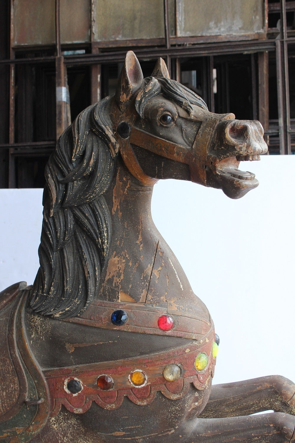 1880s Original Carnival Ride Wood Horse By Charles Loof At