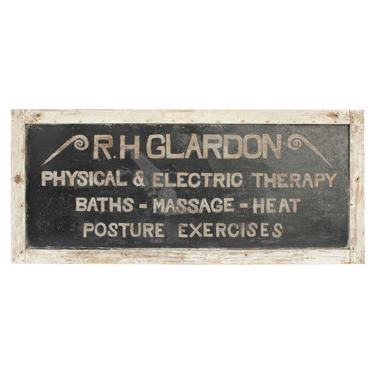 "Antique Tin Sign, ""Physical & Electric Therapy"""