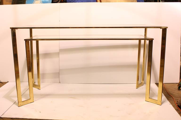 Modern brass plated 2Tier desk/console table with glass tops. Bottom part: H 25
