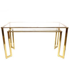 Modern Brass-Plated Two-Tier Desk or Console Table