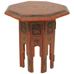 1900's Burmese Red & Black Lacquered Octagonal Accent Table