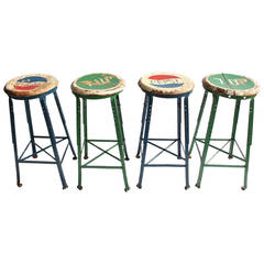Vintage Folk Art Advertising Pepsi U0026amp; 7UP Stools