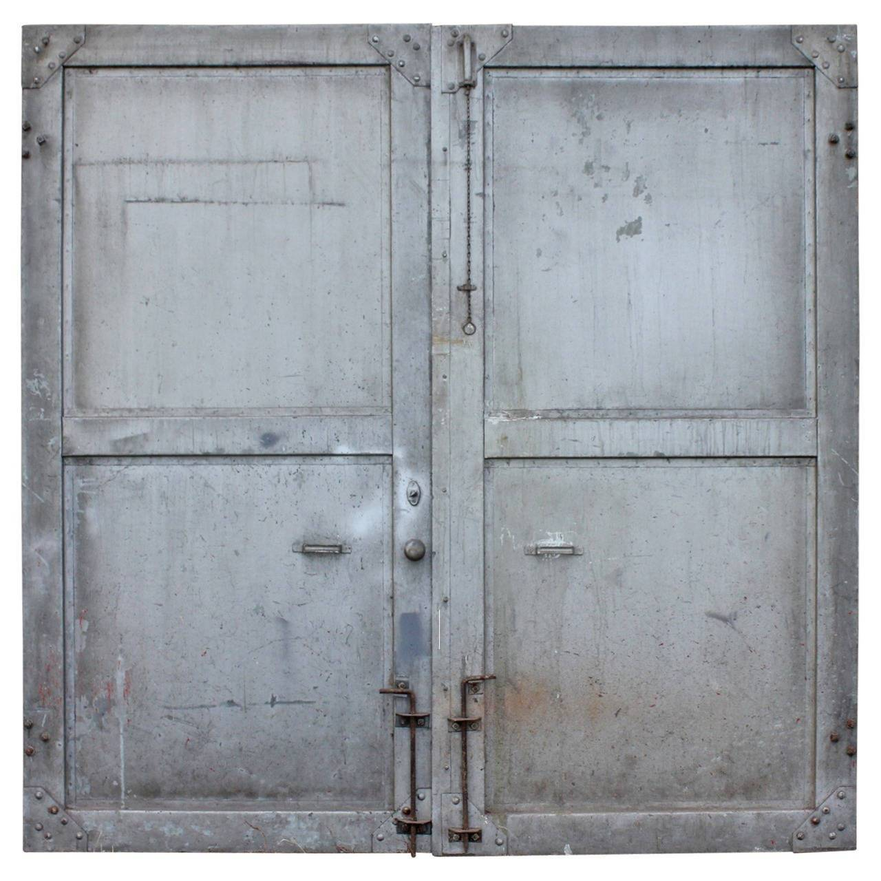 Metal Entrance Doors : Antique double metal industrial doors at stdibs