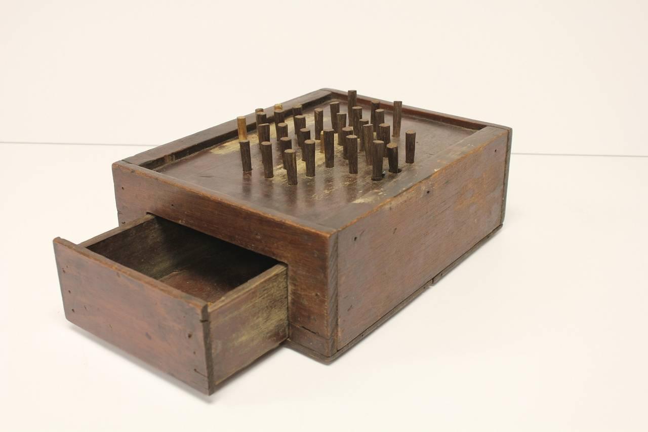 American Antique Folk Art Aggravation Wooden Box Peg Board Game For Sale