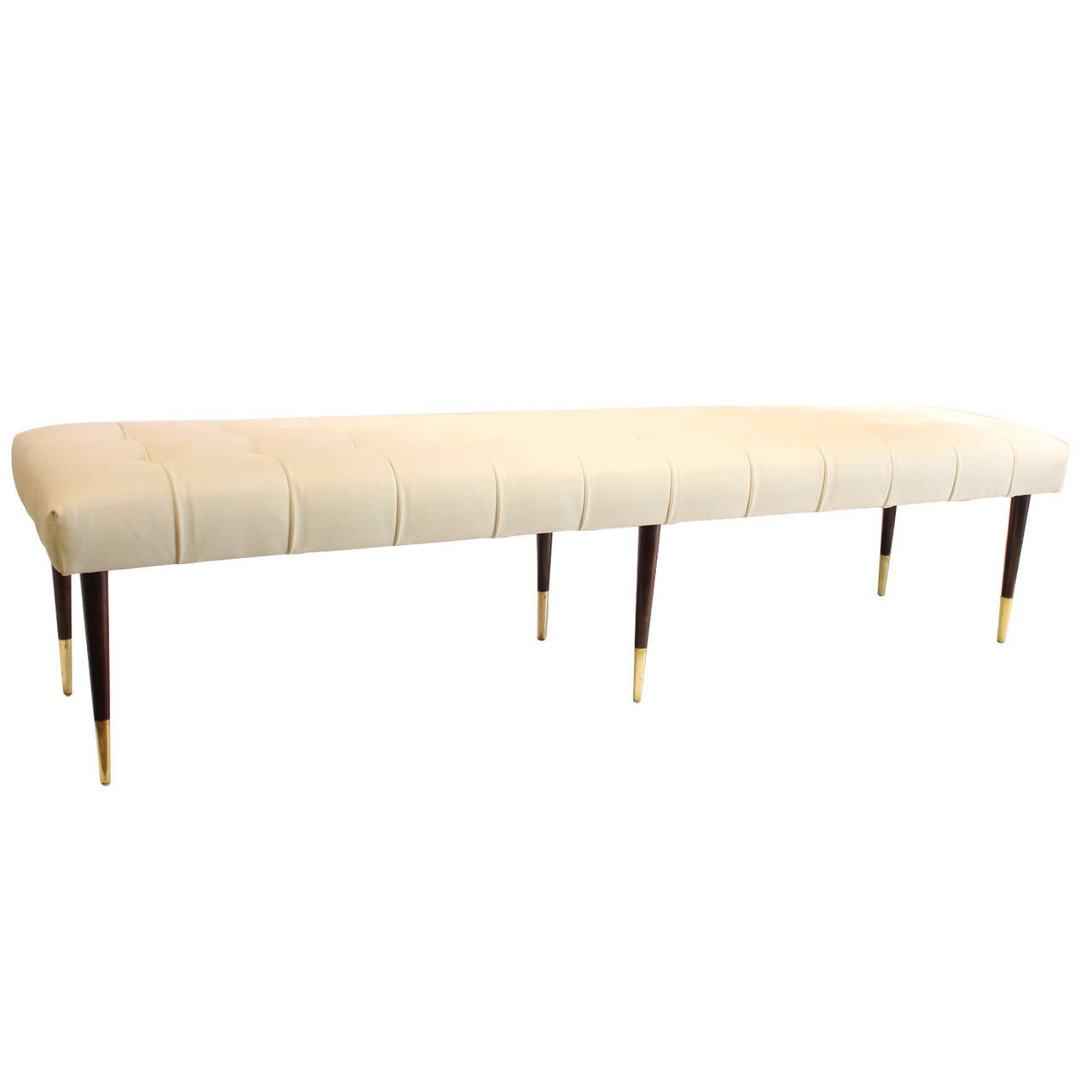 Tufted Leather Bench By Paul Frankl At 1stdibs