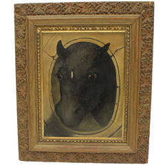 19th Century Folk Art Oil Painting of a Horse