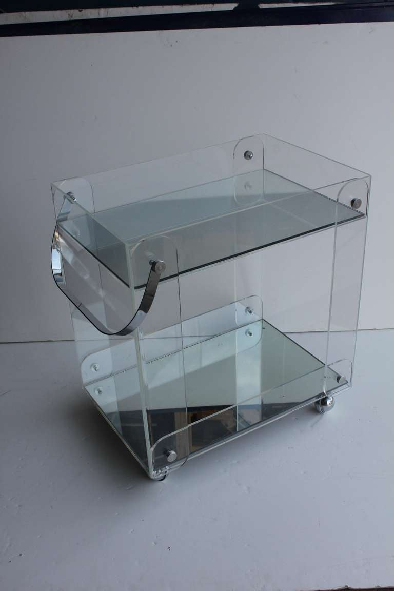 Mid Century Lucite Tea Cart For Sale at 1stdibs