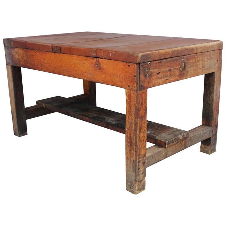 Antique Primitive Baker's Wood Table For Sale - Antique Primitive Baker's Wood Table At 1stdibs