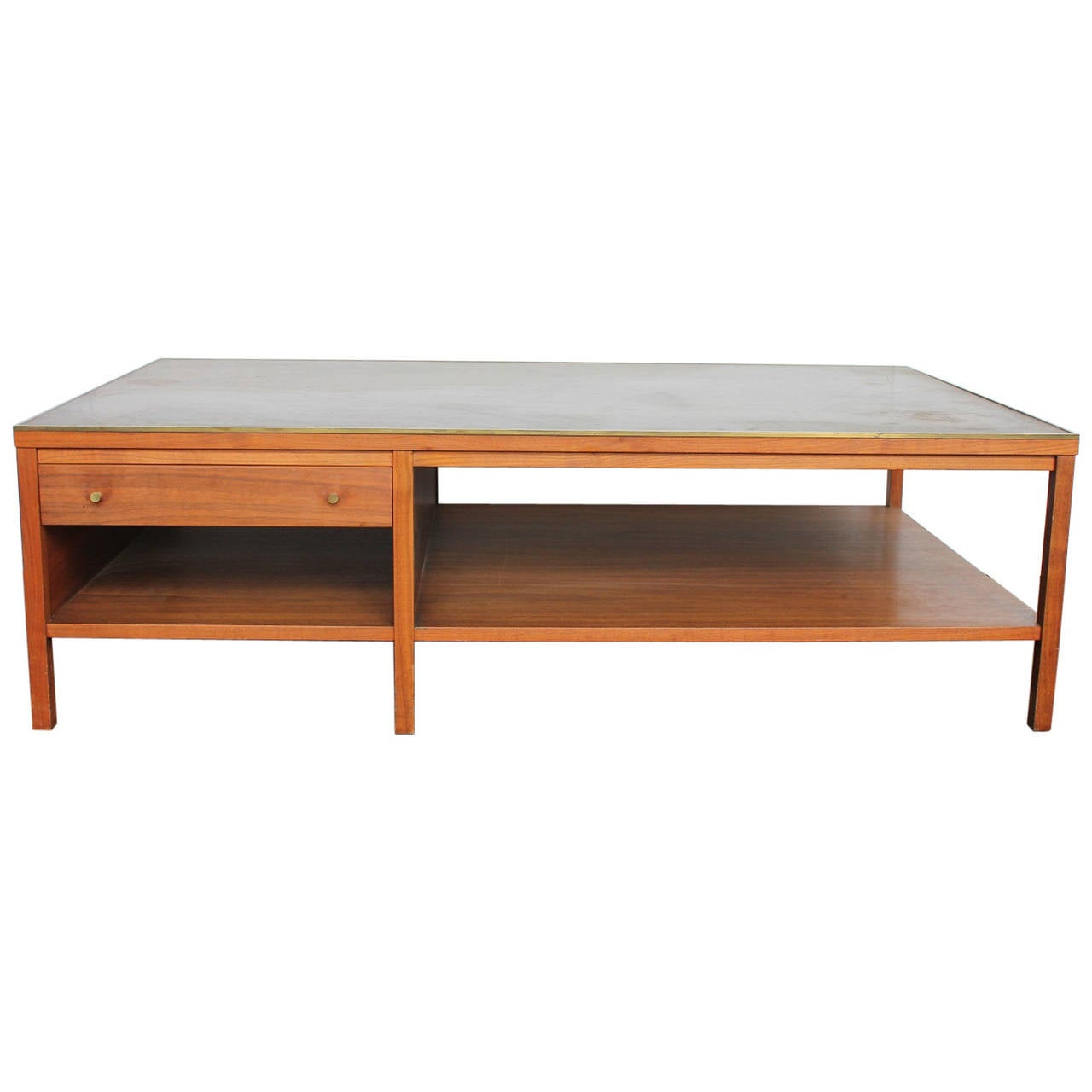 leather top coffee table by paul mccobb for calvin group for sale at