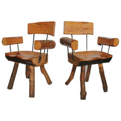 Mid Century Mexican Log and Iron Armchairs By Sabena