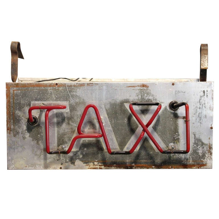 1950's Double Sided Neon Sign TAXI 1