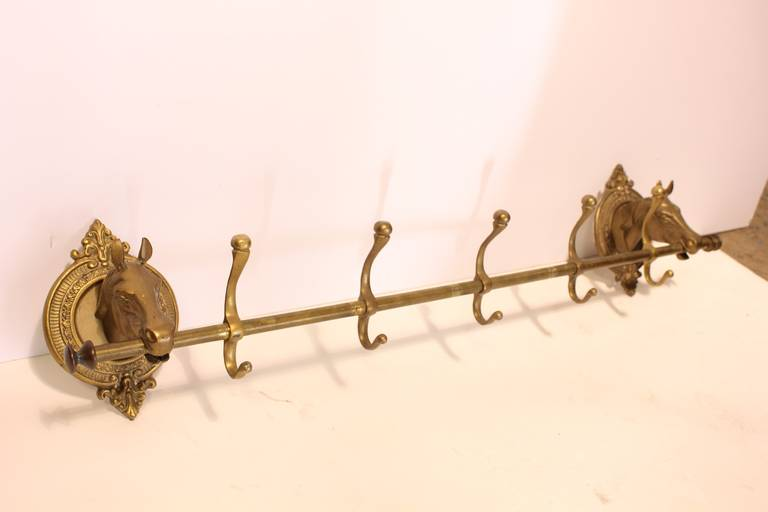 Vintage Brass Horse Head Coat Rack At 1stdibs