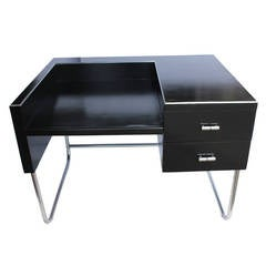 Art Deco Black Lacquered Desk by Wolfgang Hoffmann