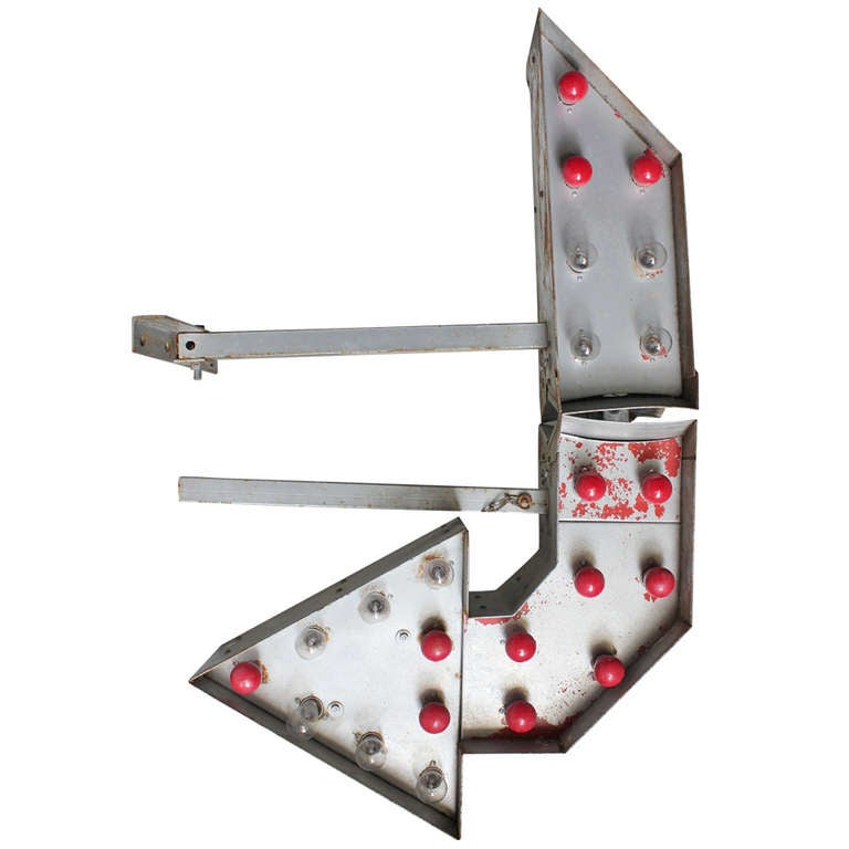 Vintage Double Sided Metal Arrow Light Up Sign For Sale