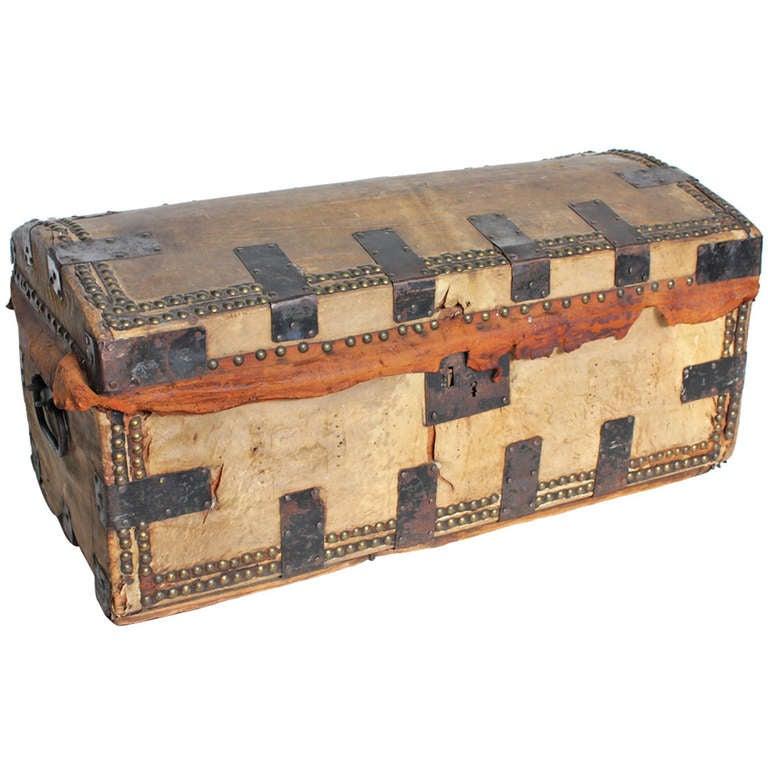 Antique Decorative Leather & Iron Trunk