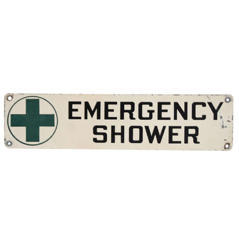 "1950's American Industrial Sign "" Emergency Shower """
