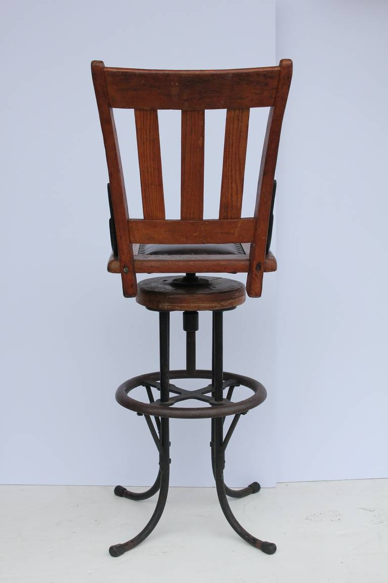 20th Century Antique Industrial Architect Stool For Sale