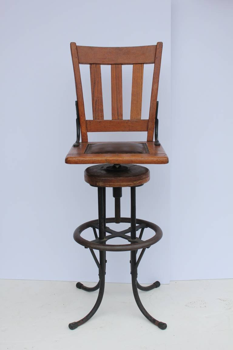 American Antique Industrial Architect Stool For Sale