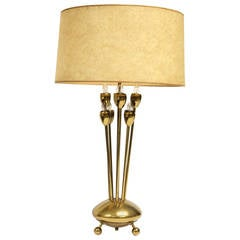 Mid Century Brass Table Lamp by Lightolier