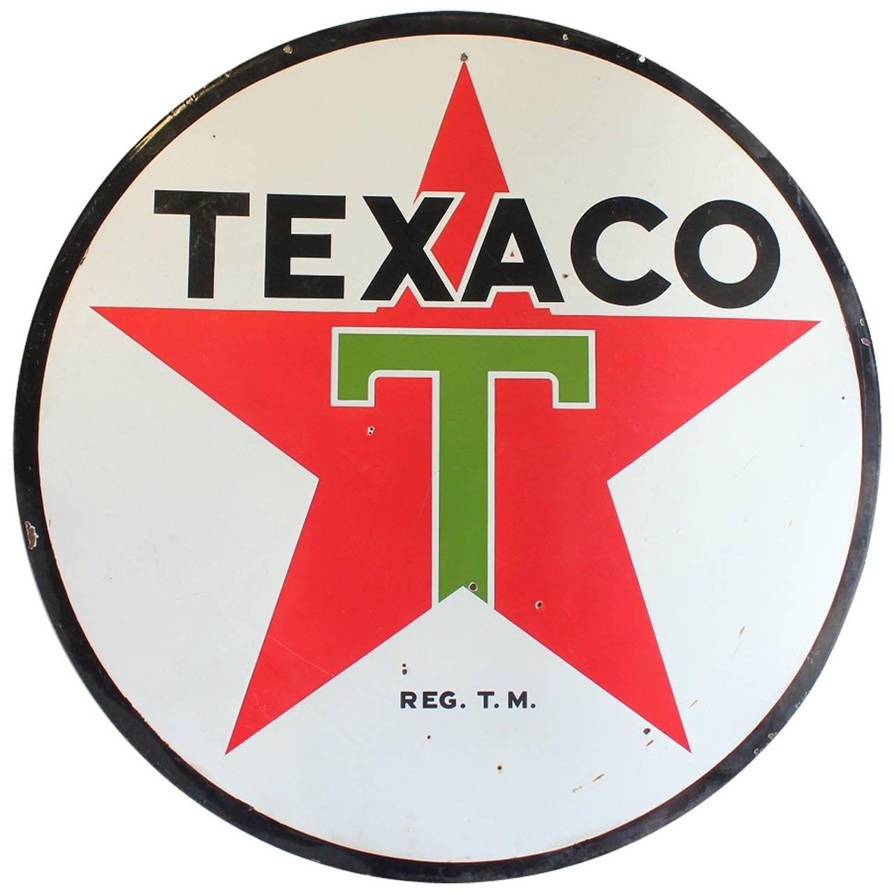 Large 1950s Double Sided Porcelain Texaco Sign