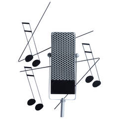 1994's Metal Microphone Sculpture By Curtis Jere