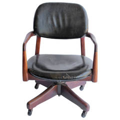 Finn Juhl's Style Mid Century Danish Leather and Walnut Desk Chair
