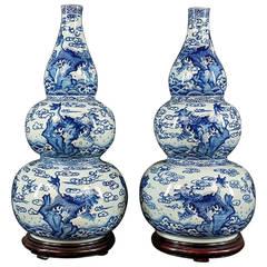 Large Stylish Pair of Chinese Blue & White Triple Gourd Porcelain Vases