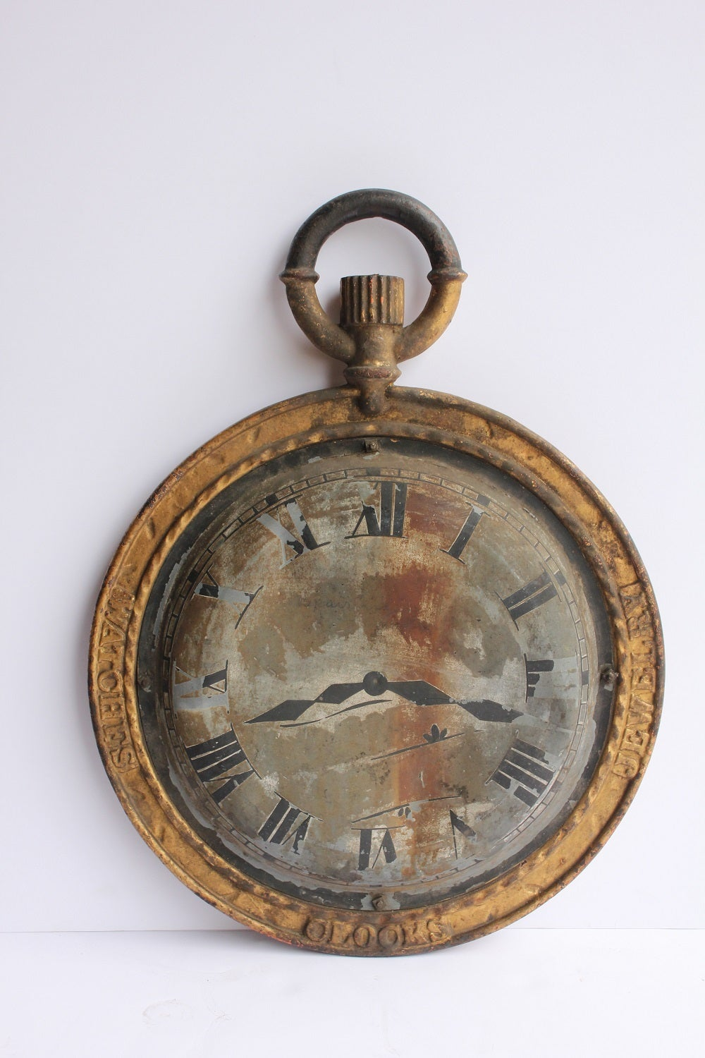 19th Century American Double Sided Watch Maker Trade Sign With Cast Iron Frame And Tin Clock Face.