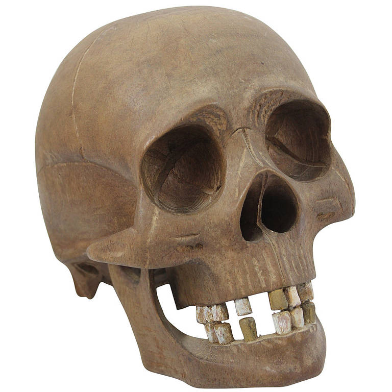 Vintage hand carved wooden skull for sale at stdibs