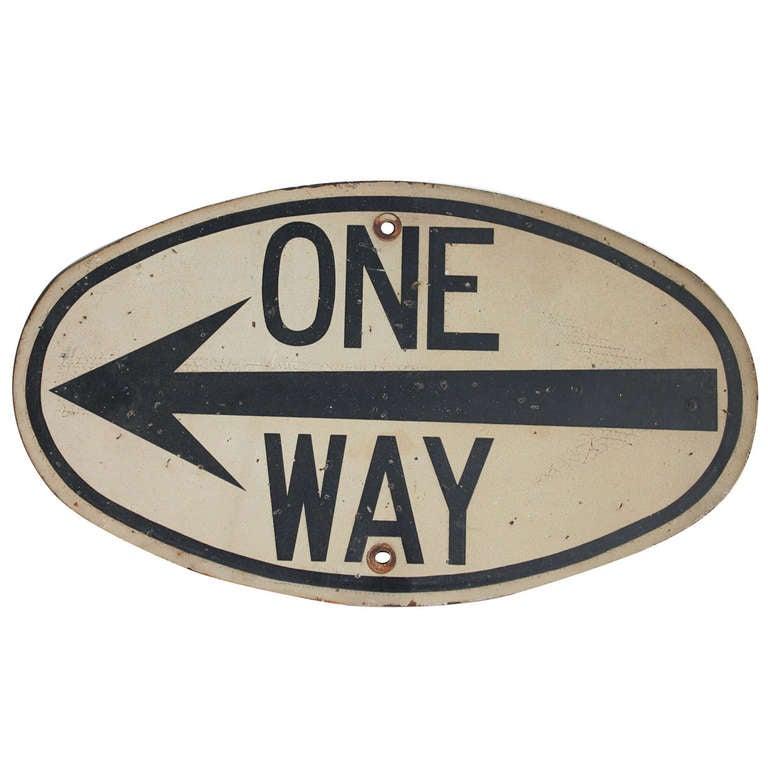 Rare 1920 39 S Street Sign One Way At 1stdibs