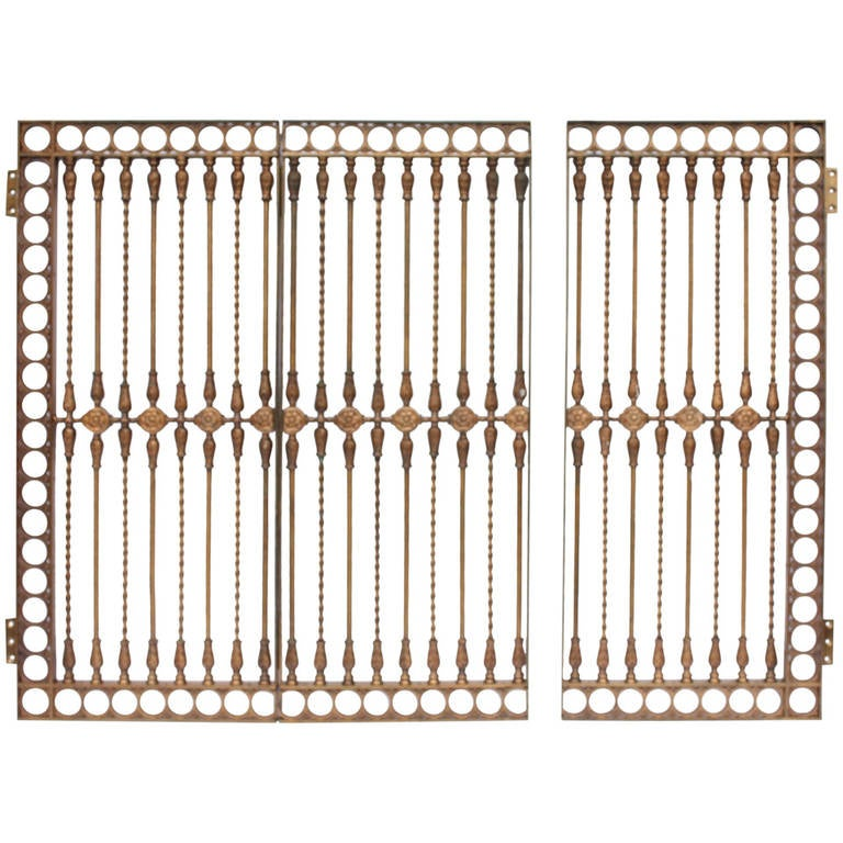 Antique Solid Bronze Three-Panel Gate For Sale