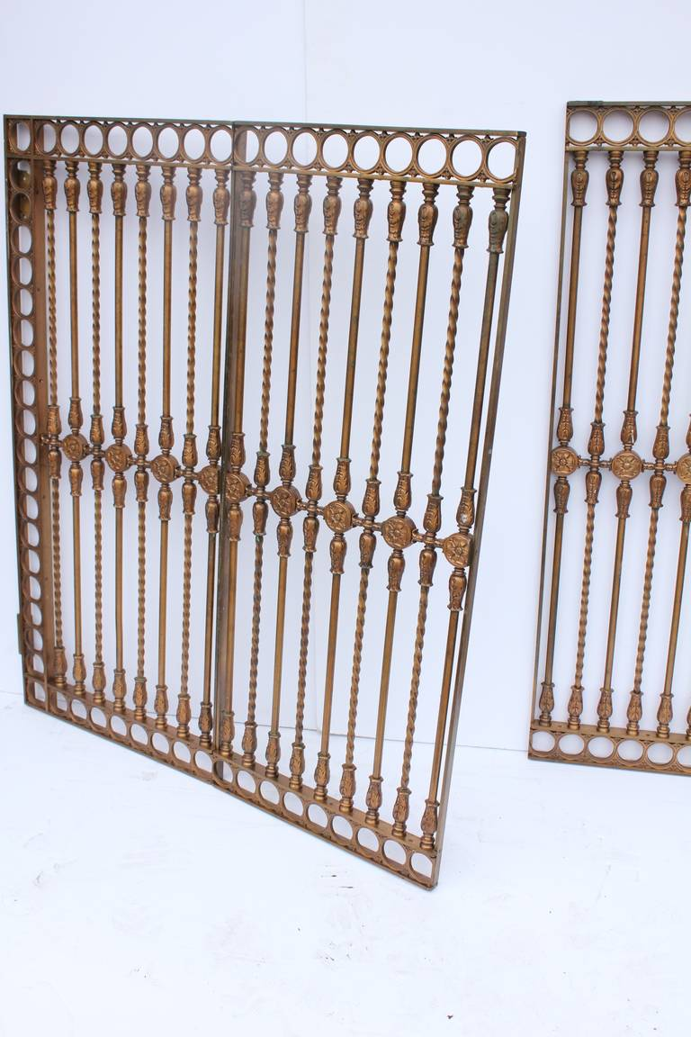 American Antique Solid Bronze Three-Panel Gate For Sale