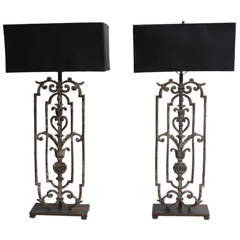 pair of tall decorative wrought iron table lamps. Black Bedroom Furniture Sets. Home Design Ideas