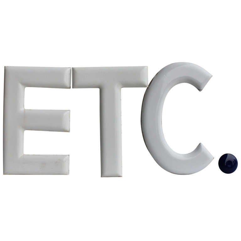 "1930's "" ETC."" Porcelain Sign 2"