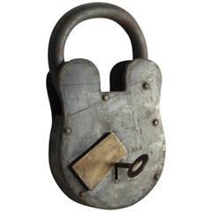 Antique Large Padlock & Skeleton Key
