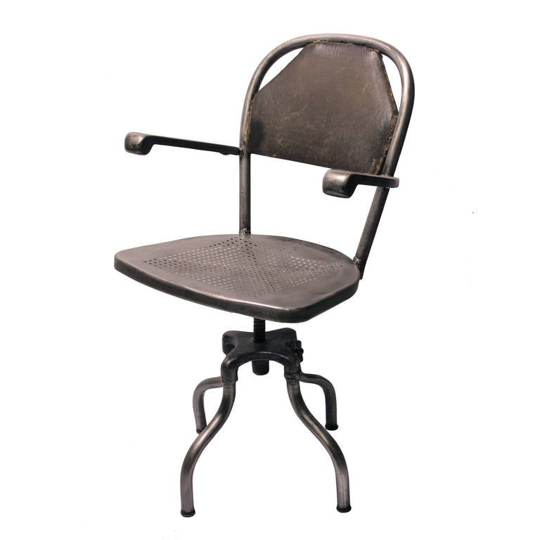 1930 s Industrial Metal Desk Chair For Sale at 1stdibs