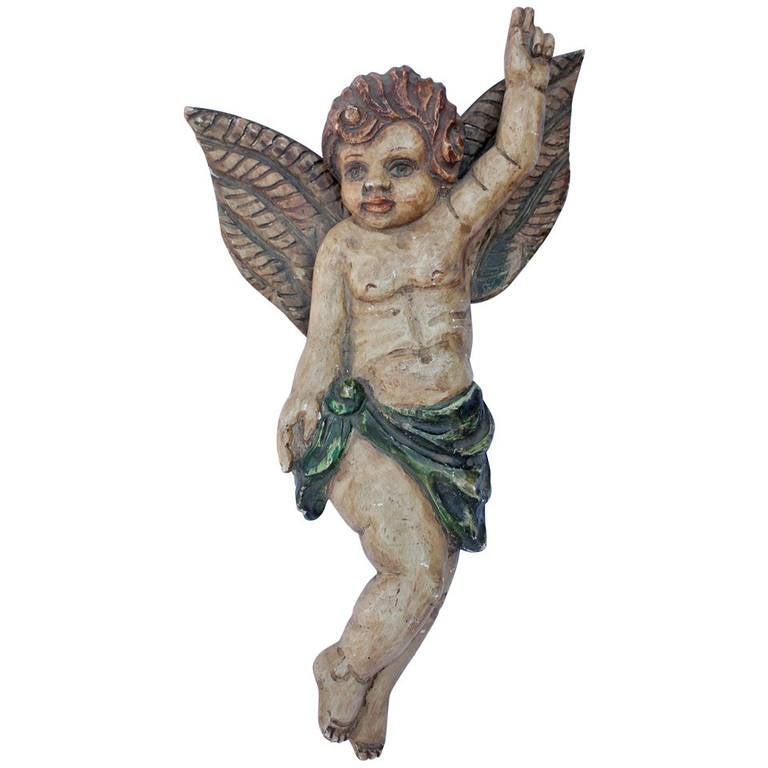 Antique Polychromed Hand-Carved Cherub Figurine