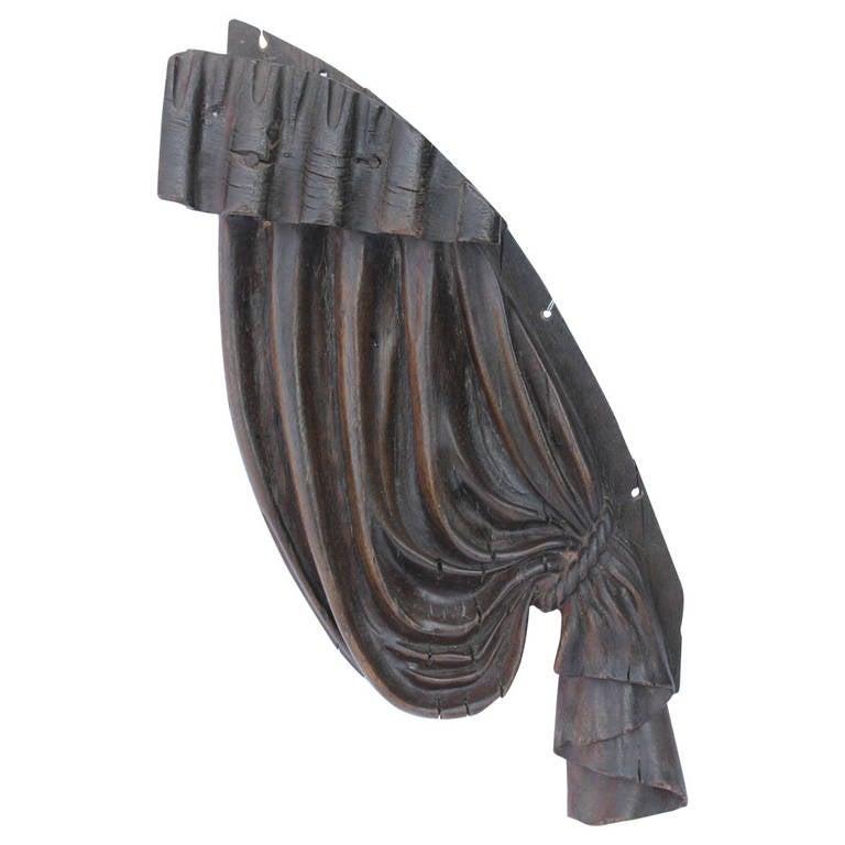 Antique Folk Art, Hand-Carved Wood Curtain