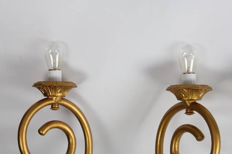 Antique Theater Wall Sconces : Antique American Theater Gilded Tin Wall Sconces For Sale at 1stdibs