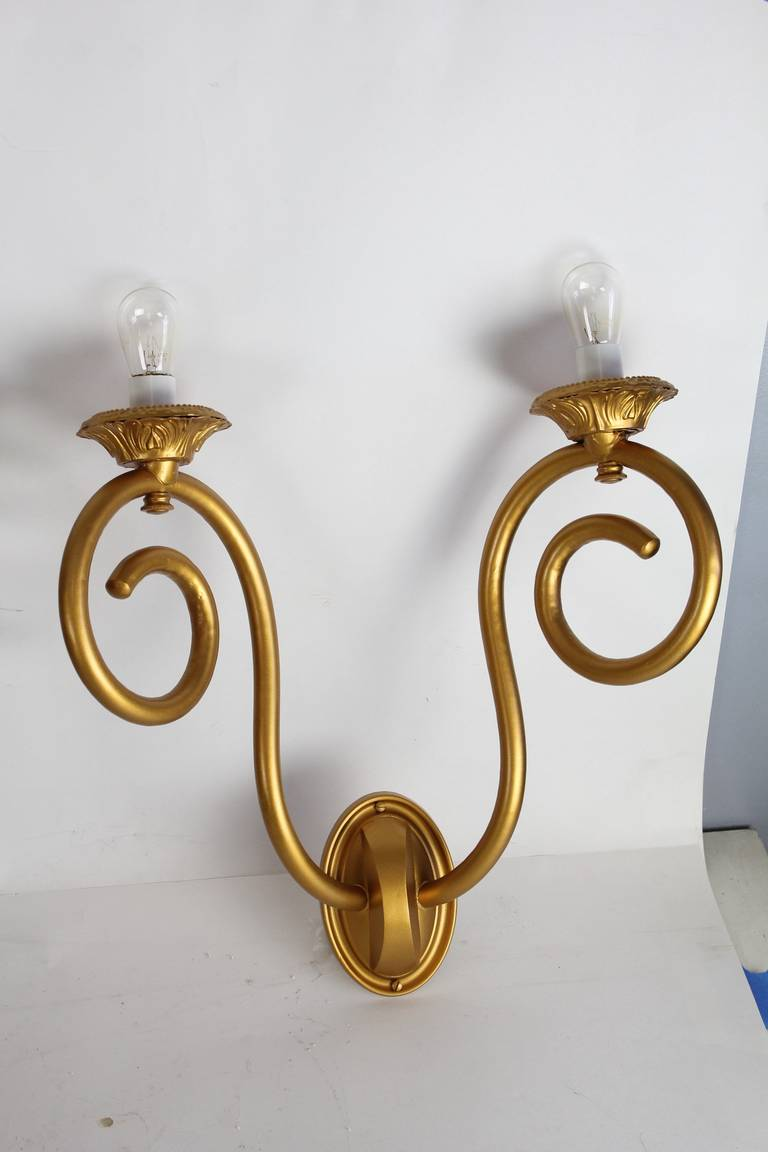 Antique American Theater Gilded Tin Wall Sconces For Sale at 1stdibs
