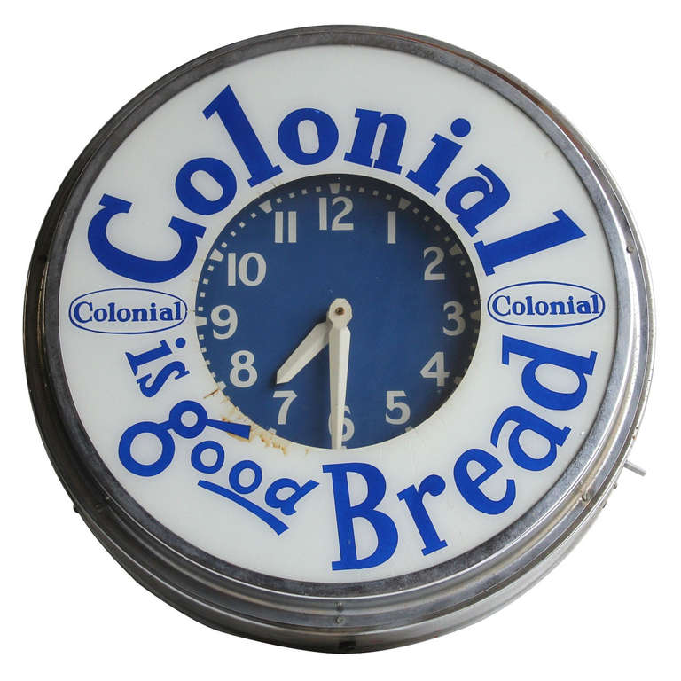 Large 1950's Neon Advertising Clock For Colonial Bread For Sale