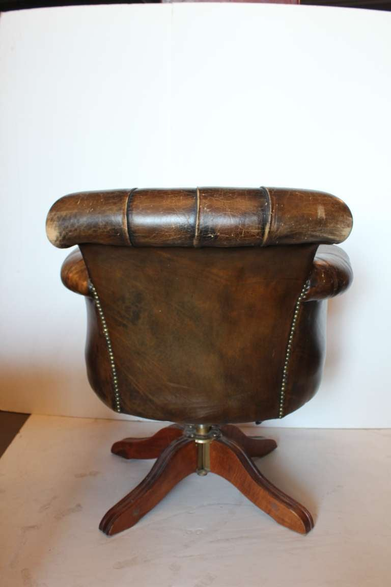 Vintage Tufted Distressed Leather Library Desk Swivel