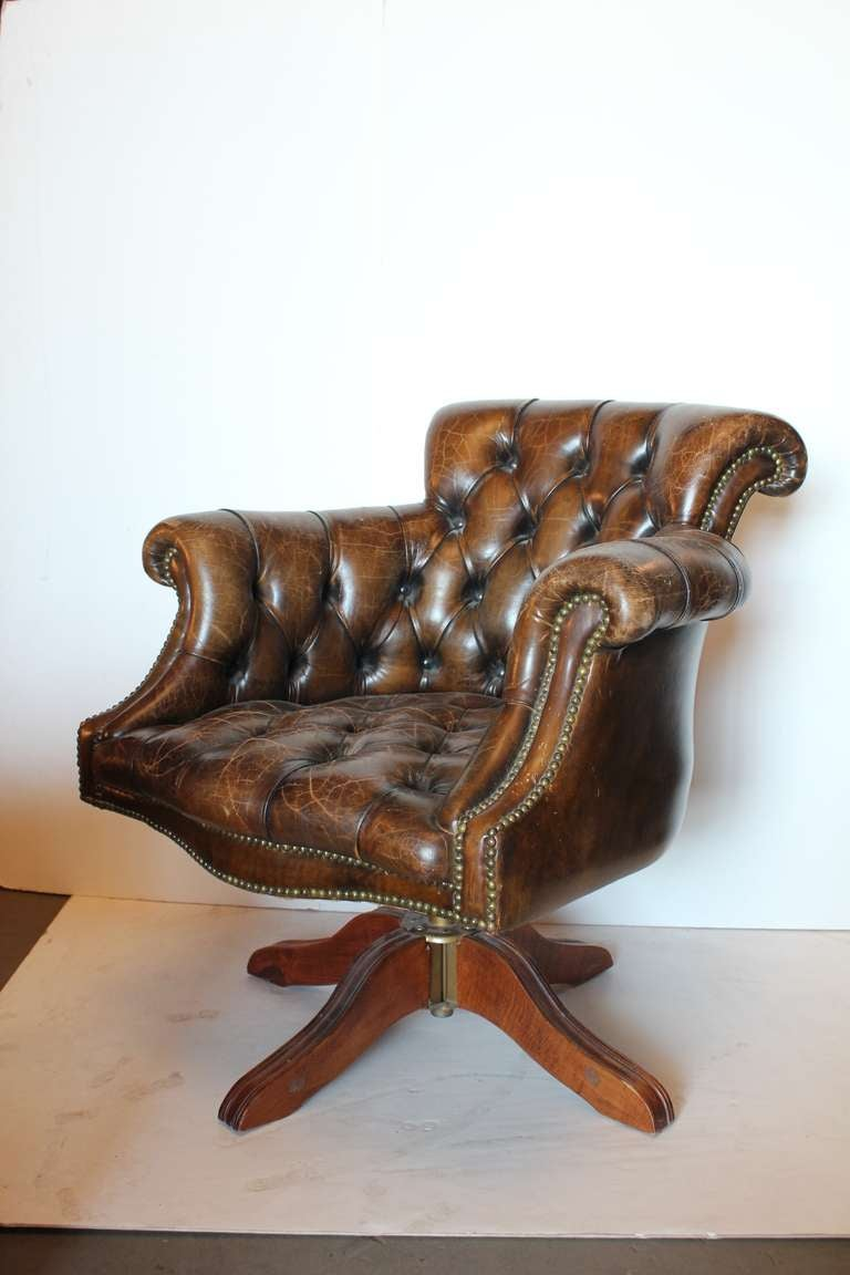 Vintage Tufted Distressed Leather Library Desk Swivel Chair 2 - Vintage Tufted Distressed Leather Library Desk Swivel Chair At 1stdibs
