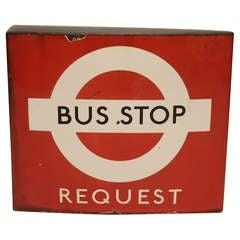 Vintage English Porcelain Double Sided Bus Stop Sign