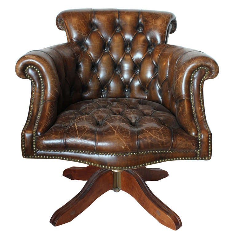 Vintage Tufted Distressed Leather Library Desk Swivel Chair For Sale - Vintage Tufted Distressed Leather Library Desk Swivel Chair At 1stdibs