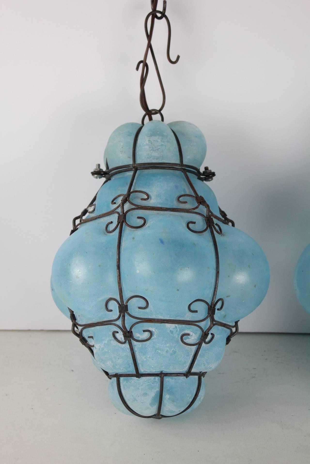 vintage seguso murano blue glass cage pendant lights at 1stdibs. Black Bedroom Furniture Sets. Home Design Ideas