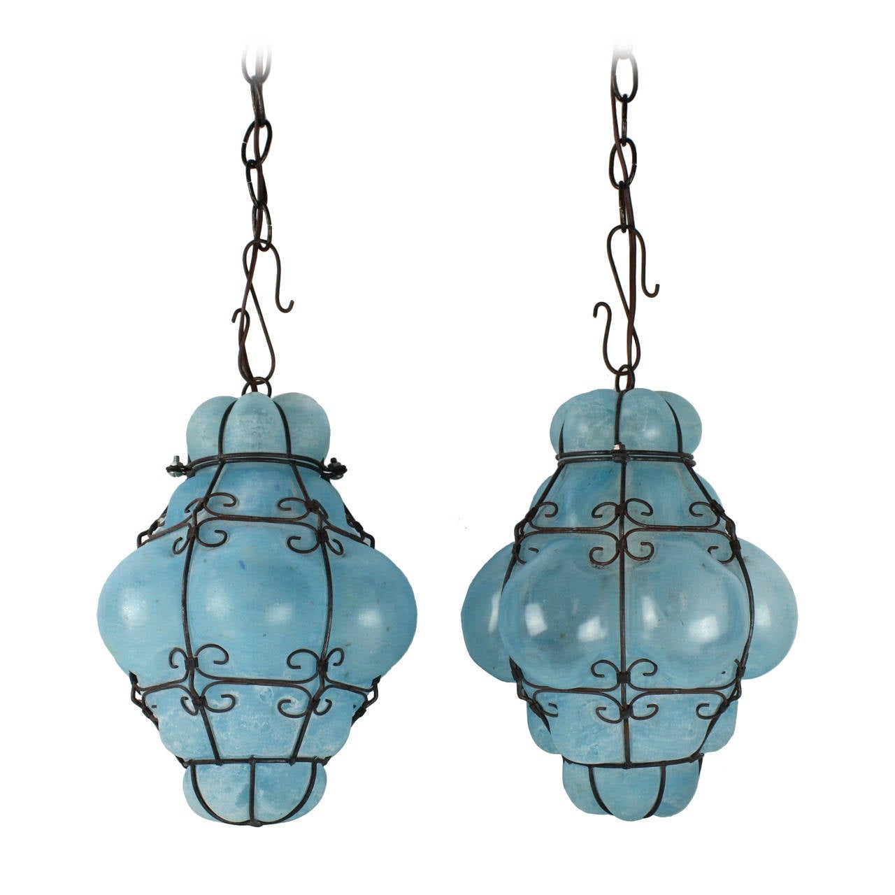 vintage seguso murano blue glass cage pendant lights at. Black Bedroom Furniture Sets. Home Design Ideas